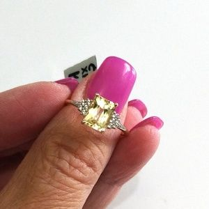 Natural Canary Kunzite Ring, 10k Solid Yellow Gold